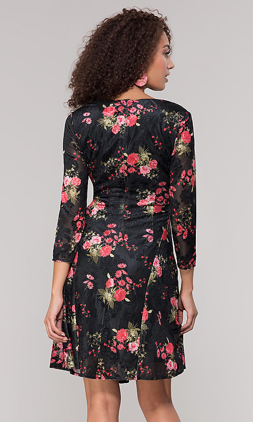 Image of floral-print short party dress with sleeves. Style: ECI-718776-8302 Back Image
