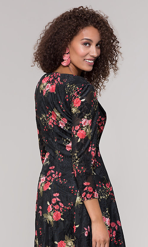 Image of floral-print short party dress with sleeves. Style: ECI-718776-8302 Detail Image 2