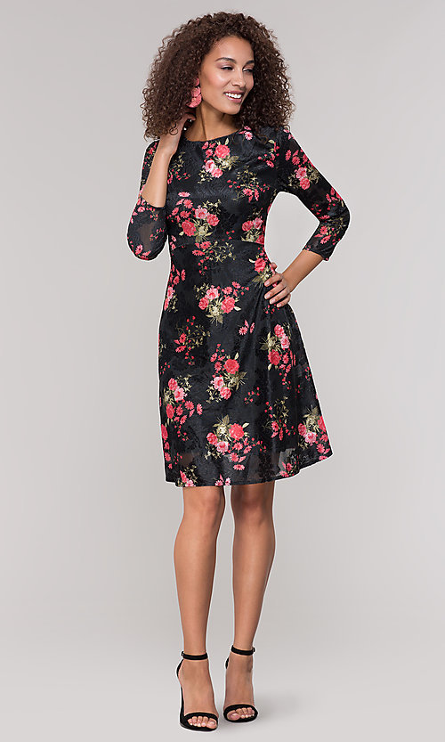 Image of floral-print short party dress with sleeves. Style: ECI-718776-8302 Detail Image 3