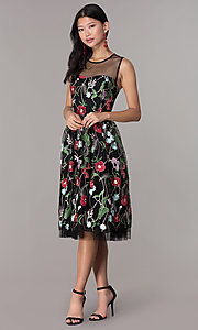 Image of embroidered-mesh knee-length party dress. Style: ECI-718729-46153 Detail Image 3