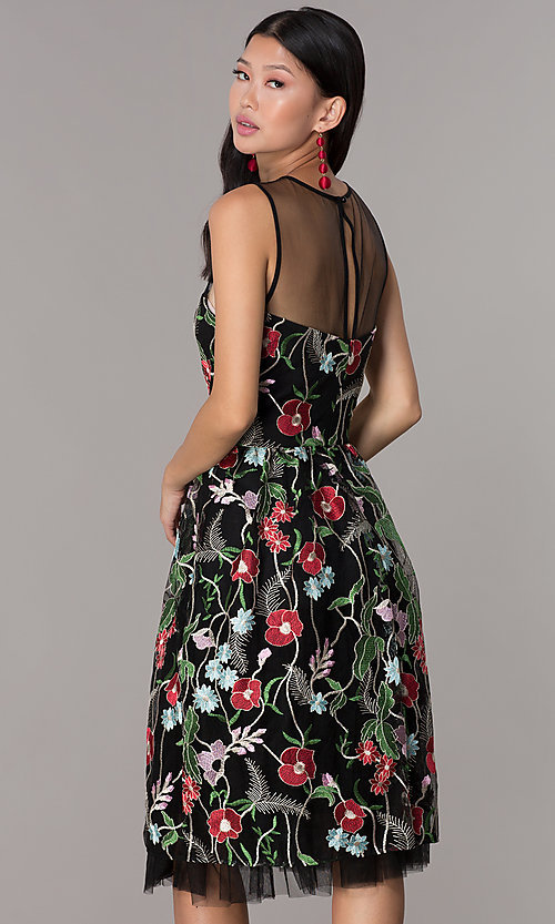 Image of embroidered-mesh knee-length party dress. Style: ECI-718729-46153 Back Image