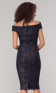 Image of navy off-the-shoulder lace holiday dress. Style: ECI-719901-8294 Back Image