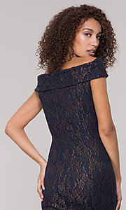 Image of navy off-the-shoulder lace holiday dress. Style: ECI-719901-8294 Detail Image 2