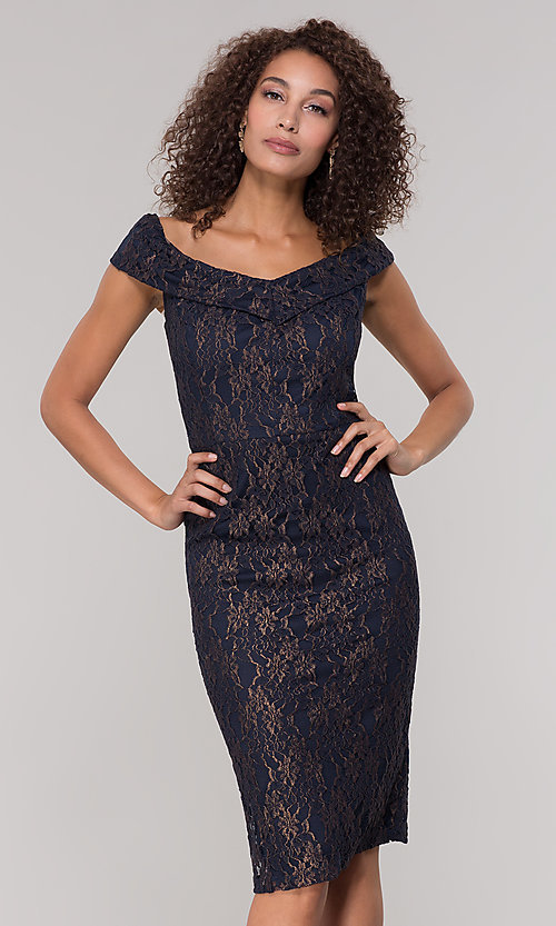 Image of navy off-the-shoulder lace holiday dress. Style: ECI-719901-8294 Front Image
