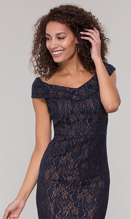 Image of navy off-the-shoulder lace holiday dress. Style: ECI-719901-8294 Detail Image 1