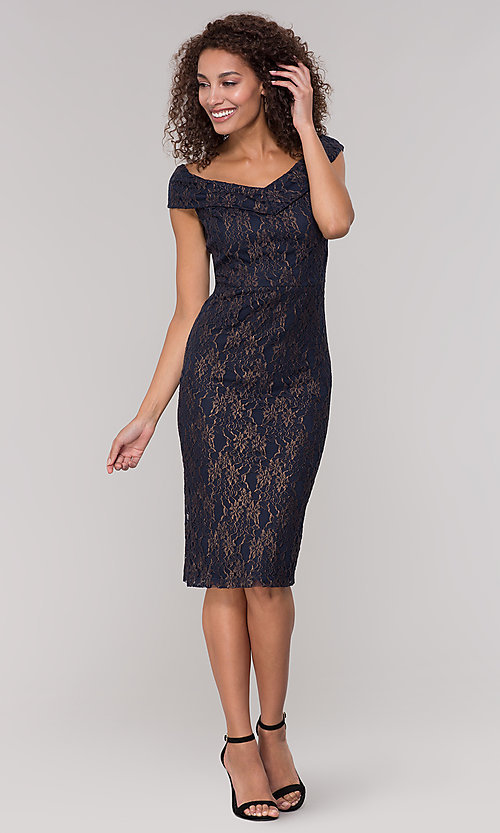Image of navy off-the-shoulder lace holiday dress. Style: ECI-719901-8294 Detail Image 3