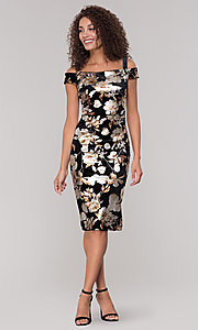 Image of floral-print knee-length wedding-guest dress. Style: ECI-719859-75557V Detail Image 3