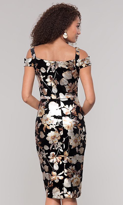 Image of floral-print knee-length wedding-guest dress. Style: ECI-719859-75557V Back Image