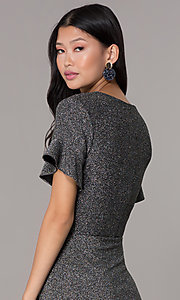 Image of short glitter-knit flutter-sleeve holiday party dress. Style: ECI-720351-8320A Detail Image 2