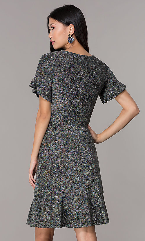 Image of short glitter-knit flutter-sleeve holiday party dress. Style: ECI-720351-8320A Back Image