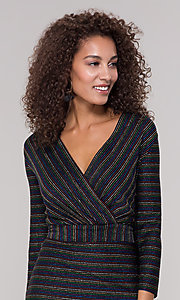 Image of short v-neck striped holiday party dress with sleeves. Style: ECI-720341-8298A Detail Image 1