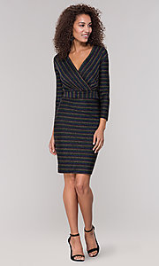 Image of short v-neck striped holiday party dress with sleeves. Style: ECI-720341-8298A Detail Image 3
