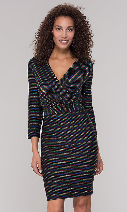 Image of short v-neck striped holiday party dress with sleeves. Style: ECI-720341-8298A Front Image