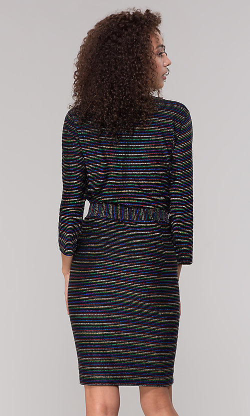 Image of short v-neck striped holiday party dress with sleeves. Style: ECI-720341-8298A Back Image