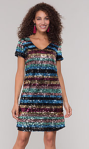Image of striped short multicolored sequin holiday dress. Style: ECI-720329-8296A Front Image