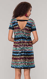 Image of striped short multicolored sequin holiday dress. Style: ECI-720329-8296A Back Image