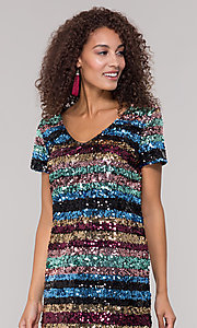Image of striped short multicolored sequin holiday dress. Style: ECI-720329-8296A Detail Image 1