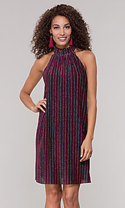 Image of high-neck short glitter holiday party dress. Style: ECI-719302-8299A Front Image