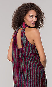 Image of high-neck short glitter holiday party dress. Style: ECI-719302-8299A Detail Image 2
