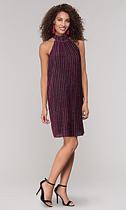 Image of high-neck short glitter holiday party dress. Style: ECI-719302-8299A Detail Image 3