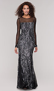 Image of black and silver sequin mother-of-the-bride dress. Style: MO-21702 Front Image