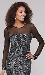 Image of black and silver sequin mother-of-the-bride dress. Style: MO-21702 Detail Image 1