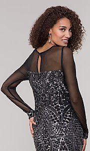 Image of black and silver sequin mother-of-the-bride dress. Style: MO-21702 Detail Image 2