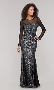 Image of black and silver sequin mother-of-the-bride dress. Style: MO-21702 Detail Image 3