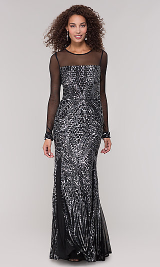 Black and Silver Sequin Mother-of-the-Bride Dress