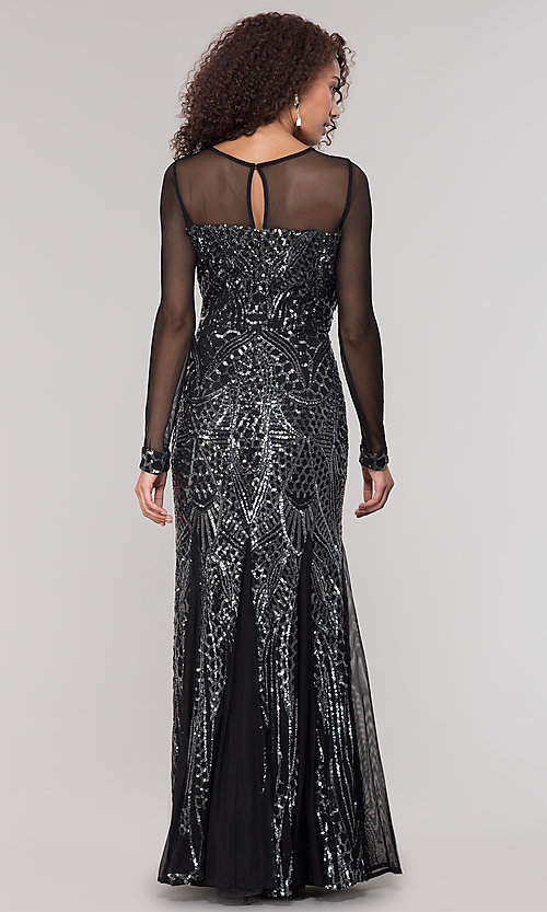 Image of black and silver sequin mother-of-the-bride dress. Style: MO-21702 Back Image