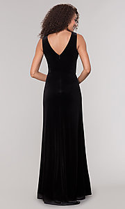 Image of long black velvet winter formal dress. Style: MO-21467 Back Image