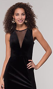 Image of long black velvet winter formal dress. Style: MO-21467 Detail Image 1