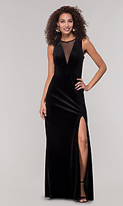 Image of long black velvet winter formal dress. Style: MO-21467 Detail Image 3