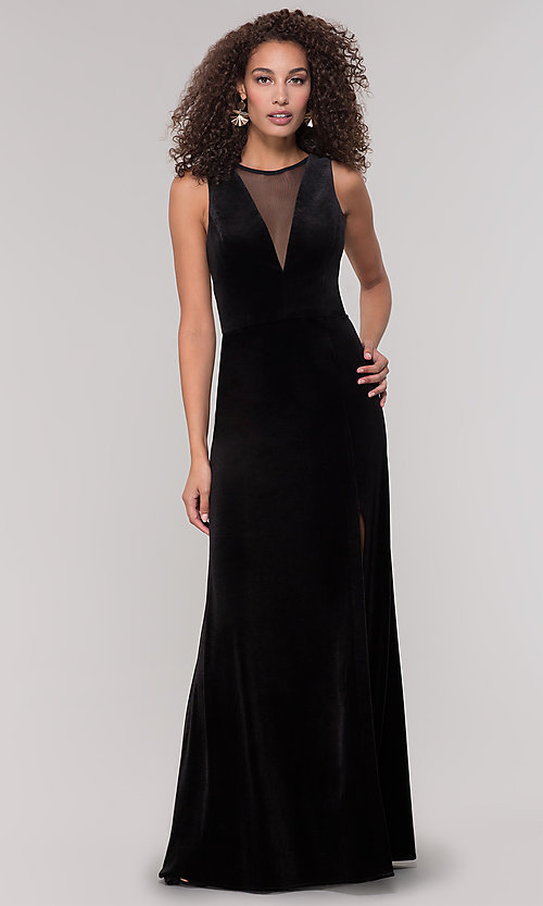 Image of long black velvet winter formal dress. Style: MO-21467 Front Image