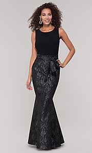 Image of long black lace mother-of-the-bride dress. Style: MO-3644 Front Image