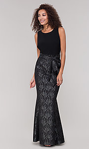 Image of long black lace mother-of-the-bride dress. Style: MO-3644 Detail Image 3