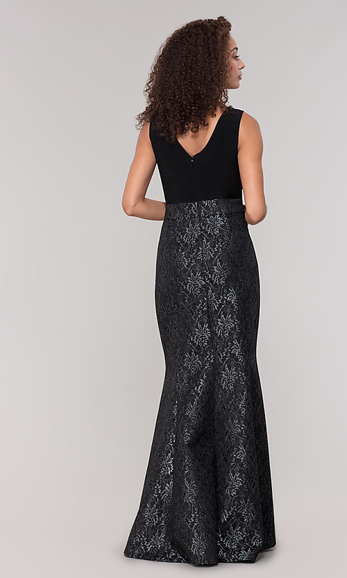 Image of long black lace mother-of-the-bride dress. Style: MO-3644 Back Image