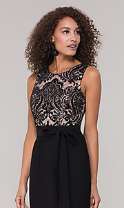 Image of long black and nude mother-of-the-bride dress. Style: MO-3214 Detail Image 1