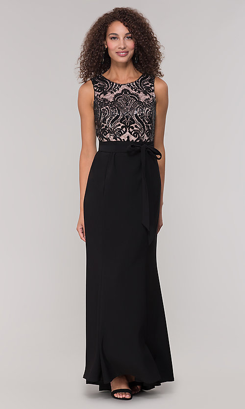 Image of long black and nude mother-of-the-bride dress. Style: MO-3214 Front Image