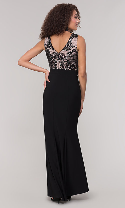 Image of long black and nude mother-of-the-bride dress. Style: MO-3214 Back Image