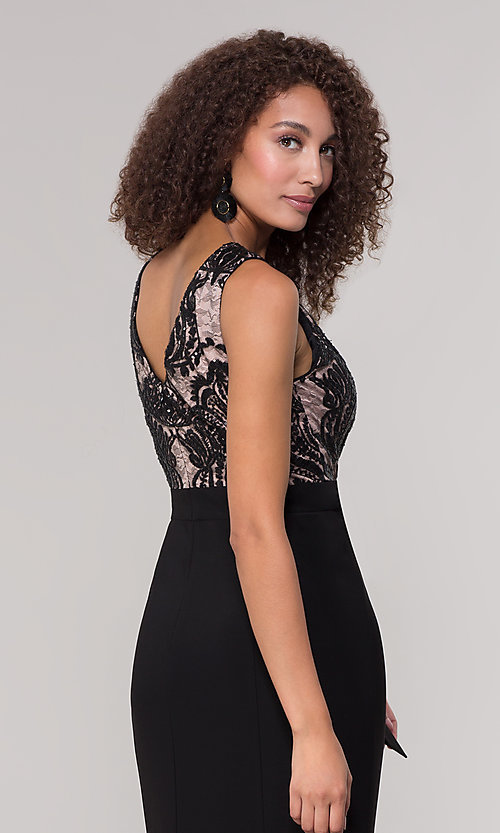 Image of long black and nude mother-of-the-bride dress. Style: MO-3214 Detail Image 2