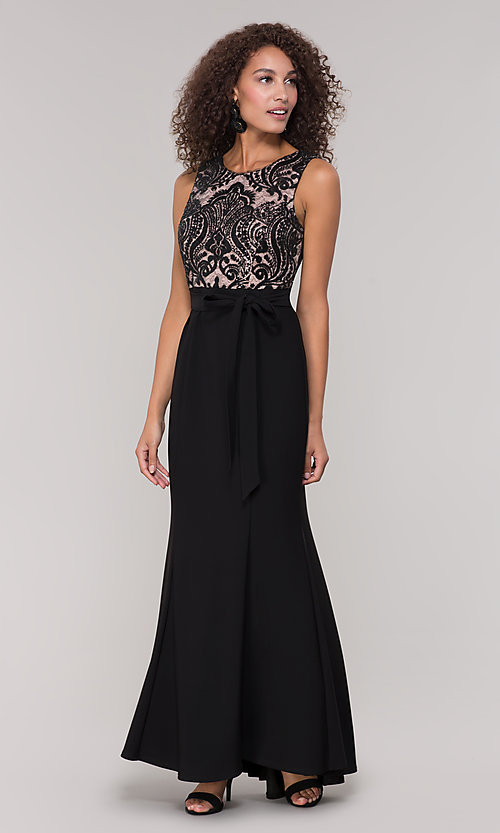 Image of long black and nude mother-of-the-bride dress. Style: MO-3214 Detail Image 3
