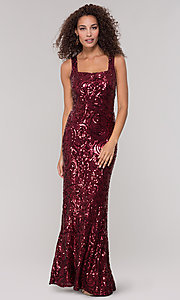 Image of merlot red long sequin formal dress for prom. Style: MO-21731 Front Image
