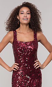 Image of merlot red long sequin formal dress for prom. Style: MO-21731 Detail Image 1