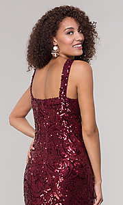 Image of merlot red long sequin formal dress for prom. Style: MO-21731 Detail Image 2