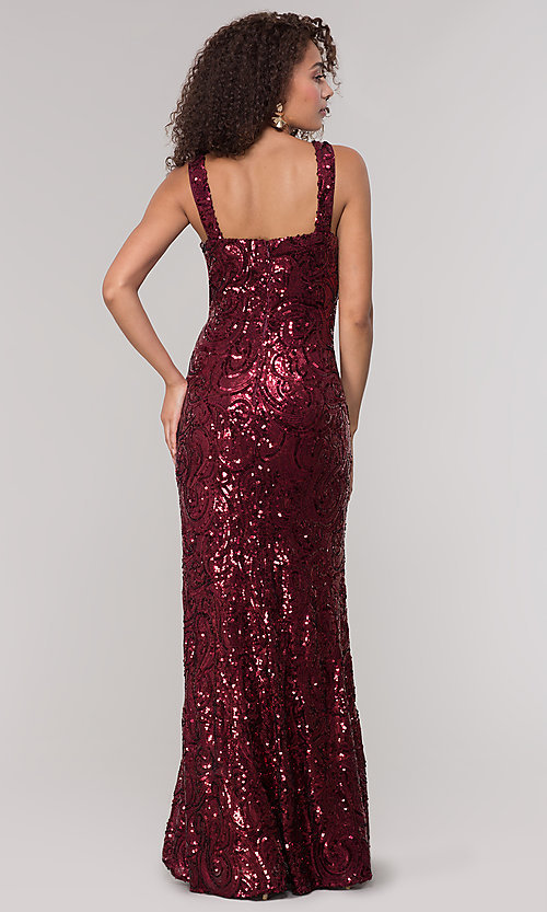 Image of merlot red long sequin formal dress for prom. Style: MO-21731 Back Image