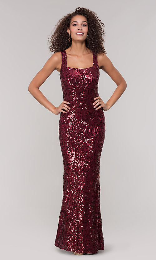 Image of merlot red long sequin formal dress for prom. Style: MO-21731 Detail Image 3