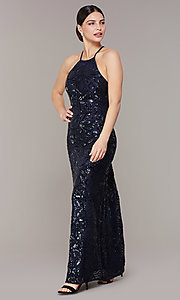 Image of open-back long navy blue sequin formal prom dress. Style: MO-21732 Front Image