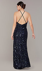 Image of open-back long navy blue sequin formal prom dress. Style: MO-21732 Back Image