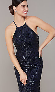 Image of open-back long navy blue sequin formal prom dress. Style: MO-21732 Detail Image 2